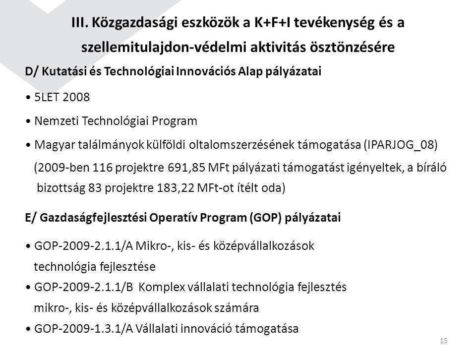 D/ Kutatási és Technológiai Innovációs Alap pályázatai 5LET 2008 Nemzeti Technológiai Program Magyar találmányok külföldi oltalomszerzésének támogatás