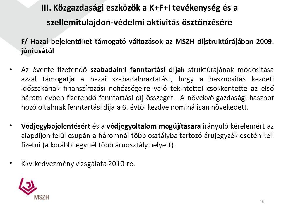 F/ Hazai bejelentőket támogató változások az MSZH díjstruktúrájában 2009. júniusától Az évente fizetendő szabadalmi fenntartási díjak struktúrájának m
