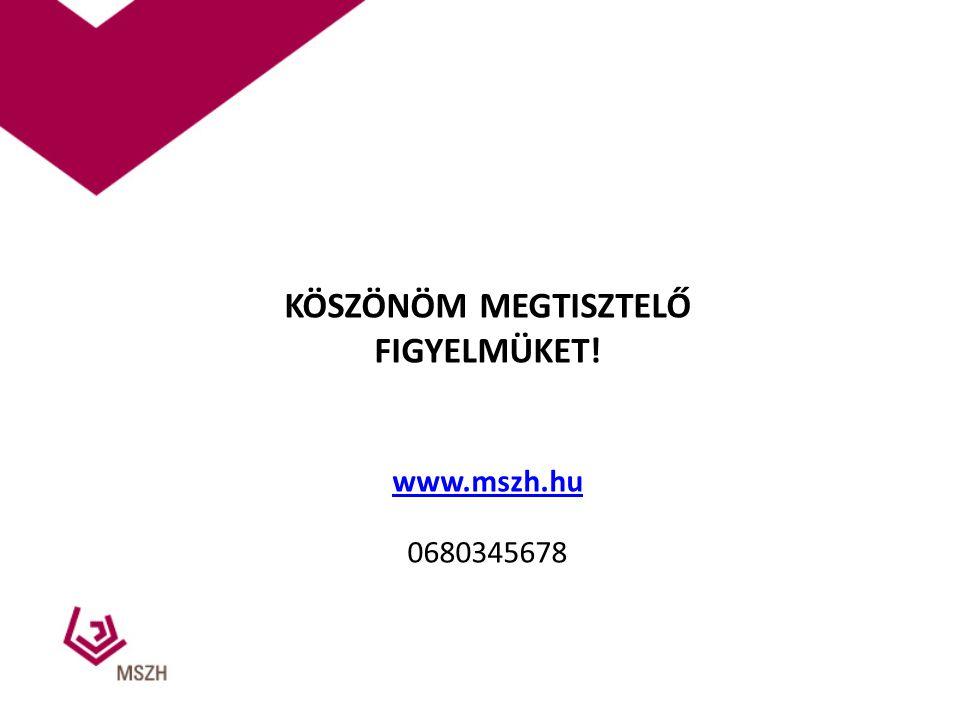 KÖSZÖNÖM MEGTISZTELŐ FIGYELMÜKET! www.mszh.hu 0680345678