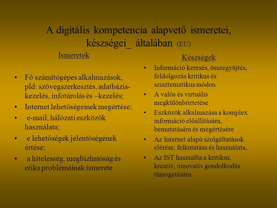 A digitális kompetencia alapvető ismeretei, készségei_ általában (EU) Ismeretek Fő számítógépes alkalmazások, pld: szövegszerkesztés, adatbázis- kezel