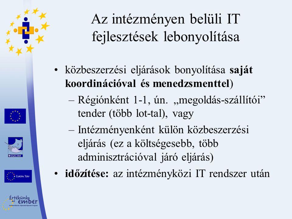 """Az intézményen belüli IT fejlesztések lebonyolítása közbeszerzési eljárások bonyolítása saját koordinációval és menedzsmenttel) –Régiónként 1-1, ún. """""""