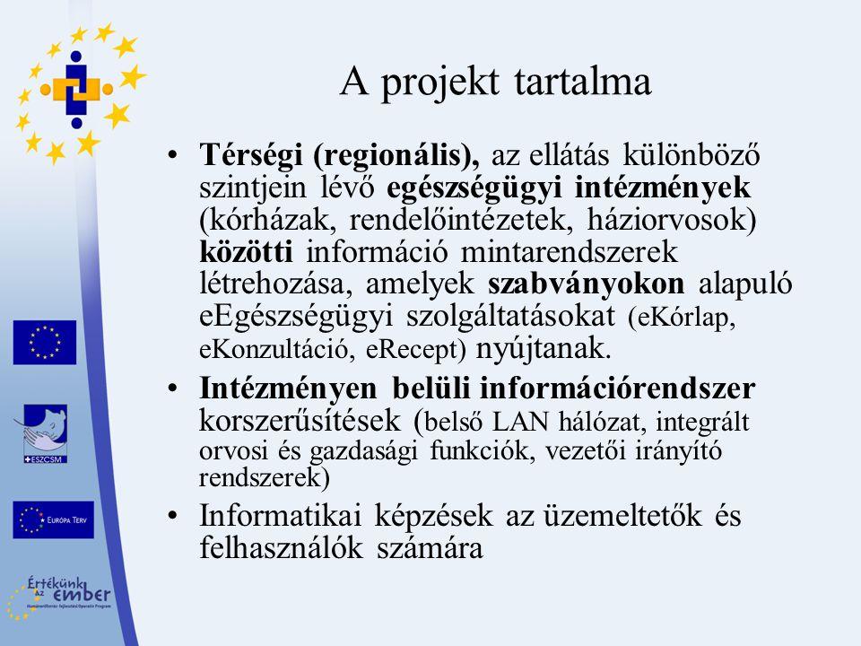 A projekt tartalma Térségi (regionális), az ellátás különböző szintjein lévő egészségügyi intézmények (kórházak, rendelőintézetek, háziorvosok) közötti információ mintarendszerek létrehozása, amelyek szabványokon alapuló eEgészségügyi szolgáltatásokat (eKórlap, eKonzultáció, eRecept) nyújtanak.