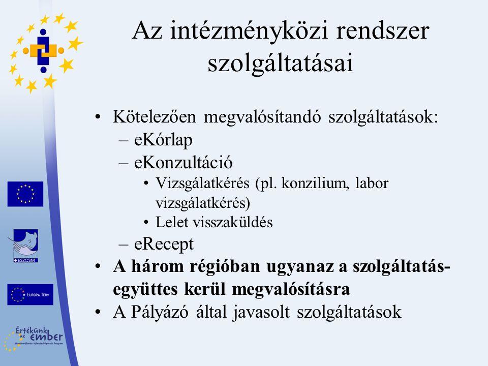 Az intézményközi rendszer szolgáltatásai Kötelezően megvalósítandó szolgáltatások: –eKórlap –eKonzultáció Vizsgálatkérés (pl. konzilium, labor vizsgál