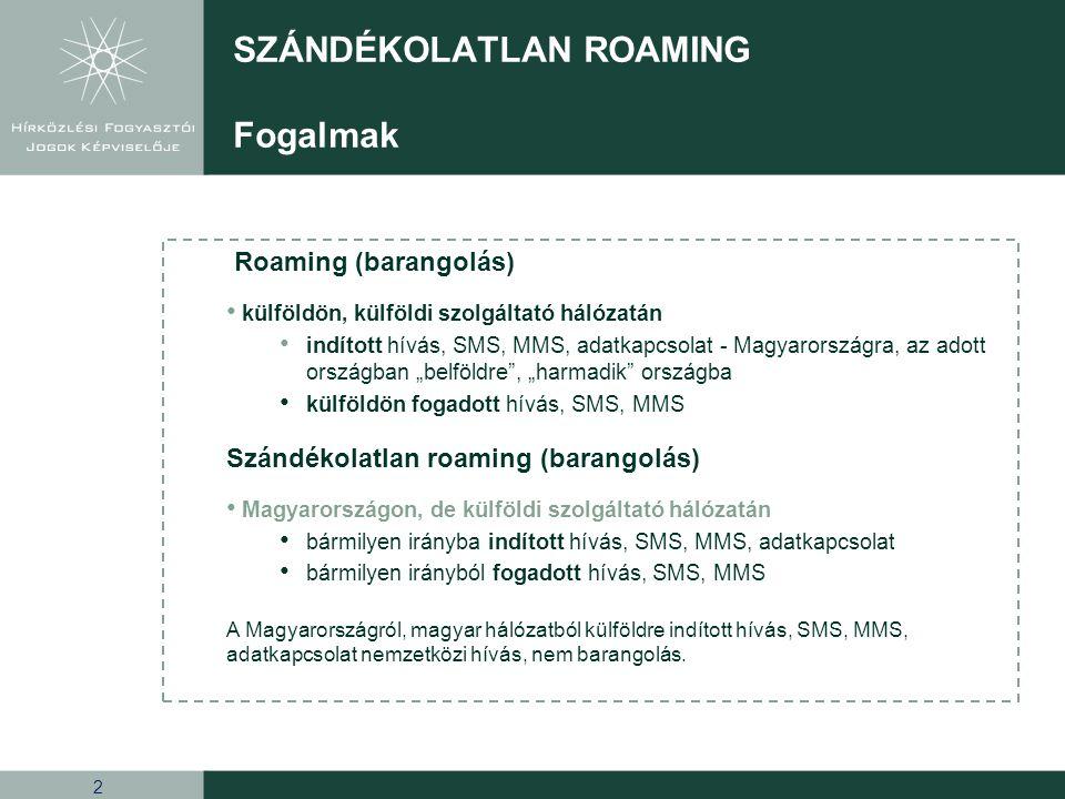 """2 Roaming (barangolás) külföldön, külföldi szolgáltató hálózatán indított hívás, SMS, MMS, adatkapcsolat - Magyarországra, az adott országban """"belföld"""