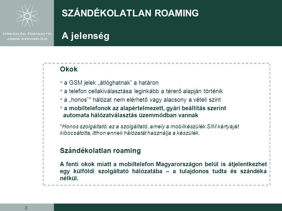 4 SZÁNDÉKOLATLAN ROAMING Tarifák Belföldi díjak és EU illetve EU-n kívüli roaming tarifák (Ft/perc; Ft/darab; Ft/100KB) Magyarországon (belföld) EU-n belülEU-n kívül hívásindítás7 – 45144280 – 1100 hívásfogadásingyenes7195 – 380 SMS küldés7 – 4078 – 11095 – 220 SMS fogadásingyenes MMS küldés36 – 130150 – 300150 – 350 MMS fogadásingyenes * adatkapcsolat0,1 – 36 50 - 120 - 240 50 - 180 – 320 * 100 KB-os egységekkel számolva