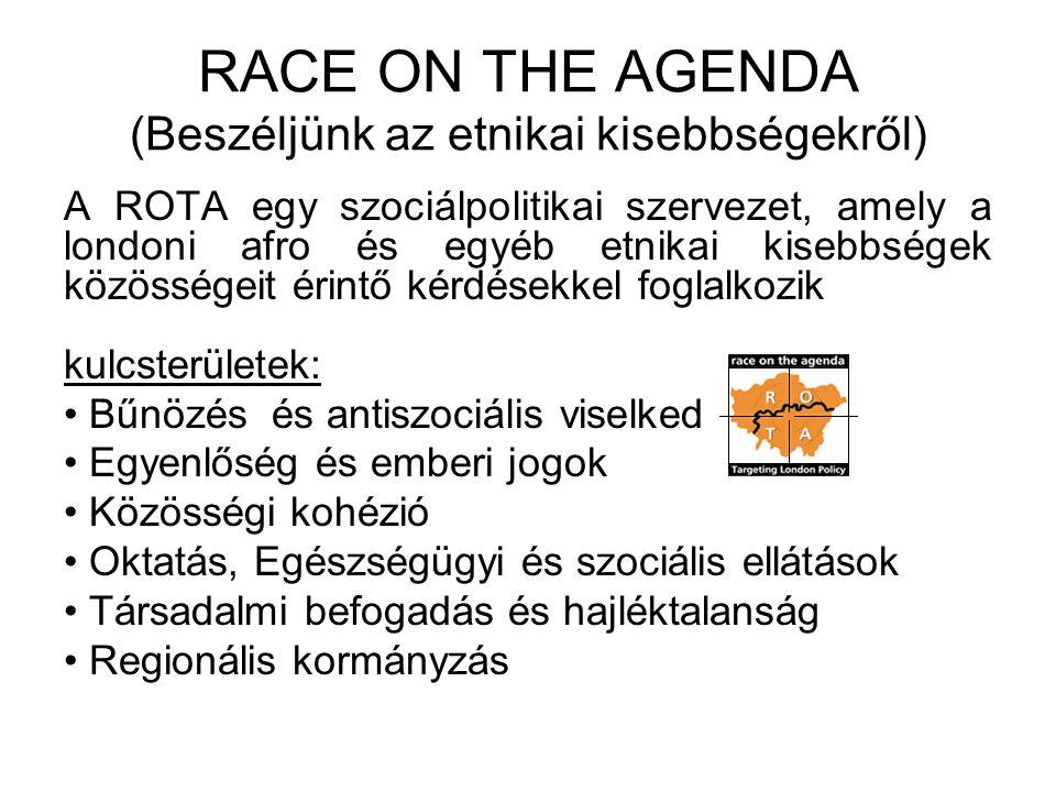 RACE ON THE AGENDA (Beszéljünk az etnikai kisebbségekről) A ROTA egy szociálpolitikai szervezet, amely a londoni afro és egyéb etnikai kisebbségek közösségeit érintő kérdésekkel foglalkozik kulcsterületek: Bűnözés és antiszociális viselkedés Egyenlőség és emberi jogok Közösségi kohézió Oktatás, Egészségügyi és szociális ellátások Társadalmi befogadás és hajléktalanság Regionális kormányzás