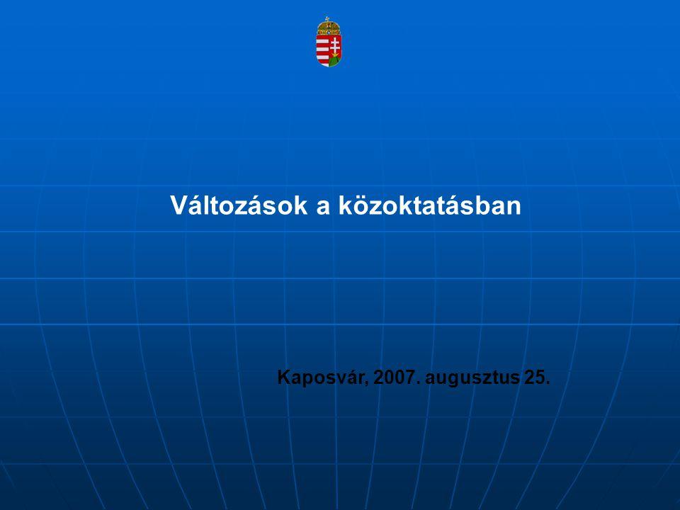 Fejlesztések a közoktatásban Új Magyarország Fejlesztési Terv intézményfelújítások, infrastrukturális beruházások (regionális operatív programok) – szinergia: kötelező tartalomfejlesztés, esélyegyenlőségi szempontok érvényesítése tartalomfejlesztés – képességfejlesztés, kompetencia- alapúoktatás, pedagógiai kultúraváltás, egységes mérés- értékelési, minőségbiztosítási rendszer