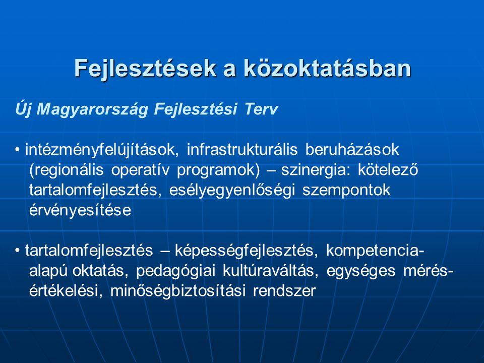 Fejlesztések a közoktatásban Új Magyarország Fejlesztési Terv intézményfelújítások, infrastrukturális beruházások (regionális operatív programok) – sz