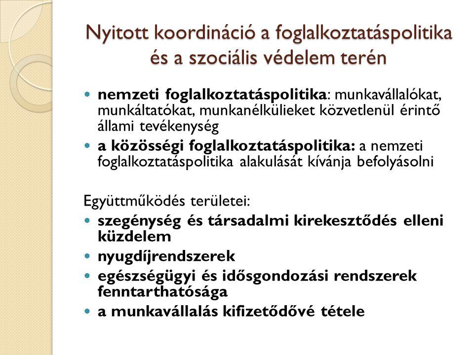 Nyitott koordináció a foglalkoztatáspolitika és a szociális védelem terén nemzeti foglalkoztatáspolitika: munkavállalókat, munkáltatókat, munkanélkülieket közvetlenül érintő állami tevékenység a közösségi foglalkoztatáspolitika: a nemzeti foglalkoztatáspolitika alakulását kívánja befolyásolni Együttműködés területei: szegénység és társadalmi kirekesztődés elleni küzdelem nyugdíjrendszerek egészségügyi és idősgondozási rendszerek fenntarthatósága a munkavállalás kifizetődővé tétele