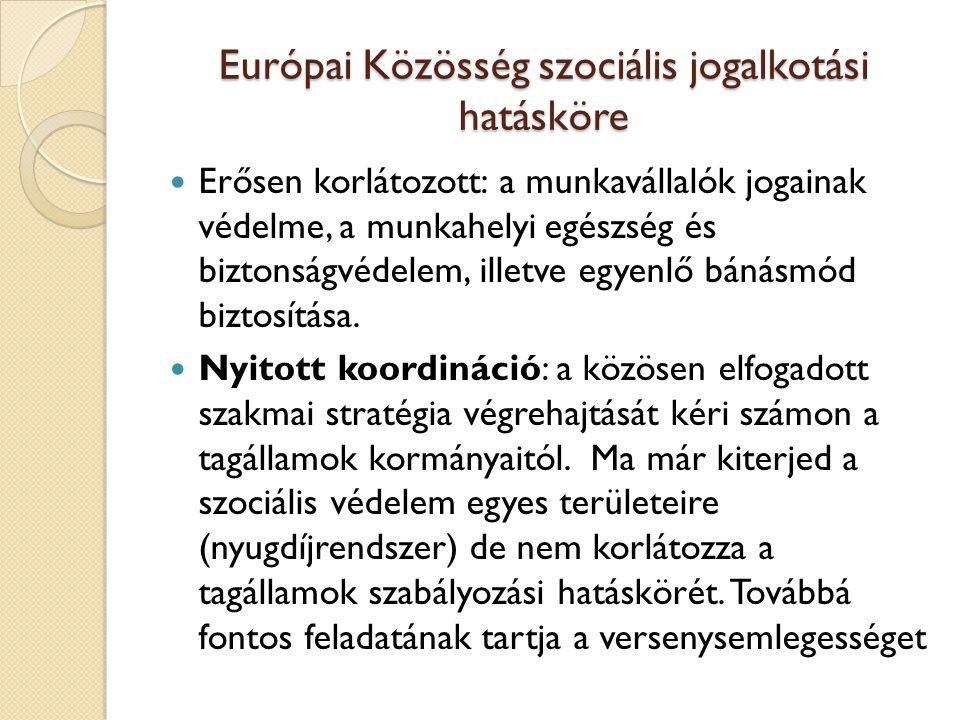Európai Közösség szociális jogalkotási hatásköre Erősen korlátozott: a munkavállalók jogainak védelme, a munkahelyi egészség és biztonságvédelem, illetve egyenlő bánásmód biztosítása.