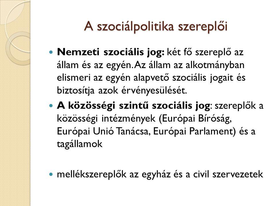 A szociálpolitika szereplői Nemzeti szociális jog: két fő szereplő az állam és az egyén.