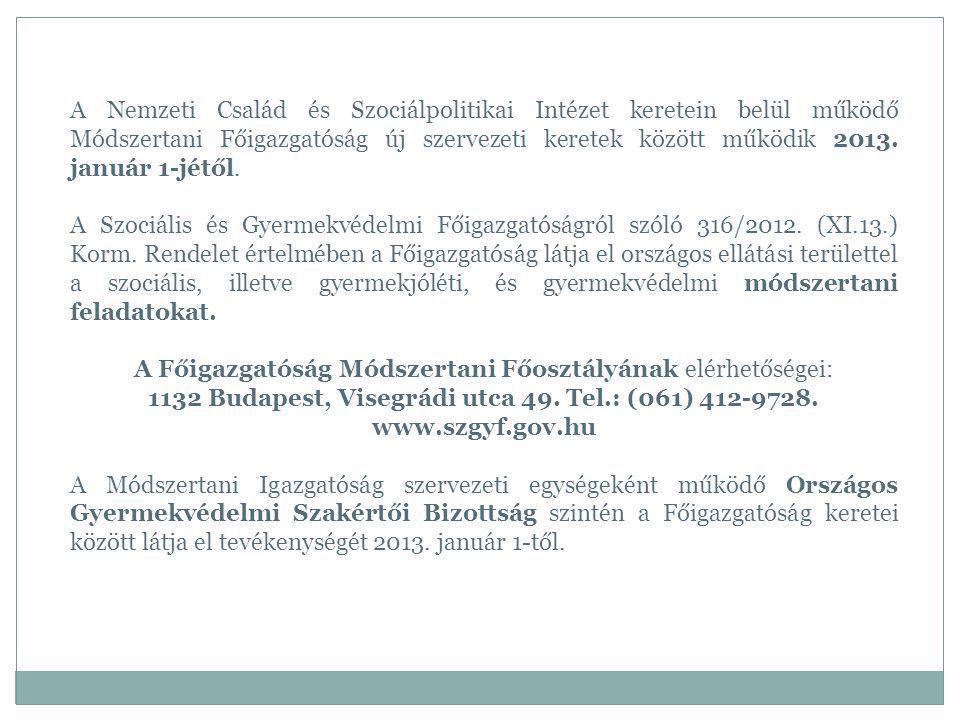 A Nemzeti Család és Szociálpolitikai Intézet keretein belül működő Módszertani Főigazgatóság új szervezeti keretek között működik 2013. január 1-jétől