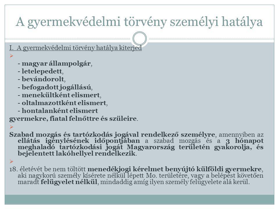 A gyermekvédelmi törvény személyi hatálya I. A gyermekvédelmi törvény hatálya kiterjed  - magyar állampolgár, - letelepedett, - bevándorolt, - befoga