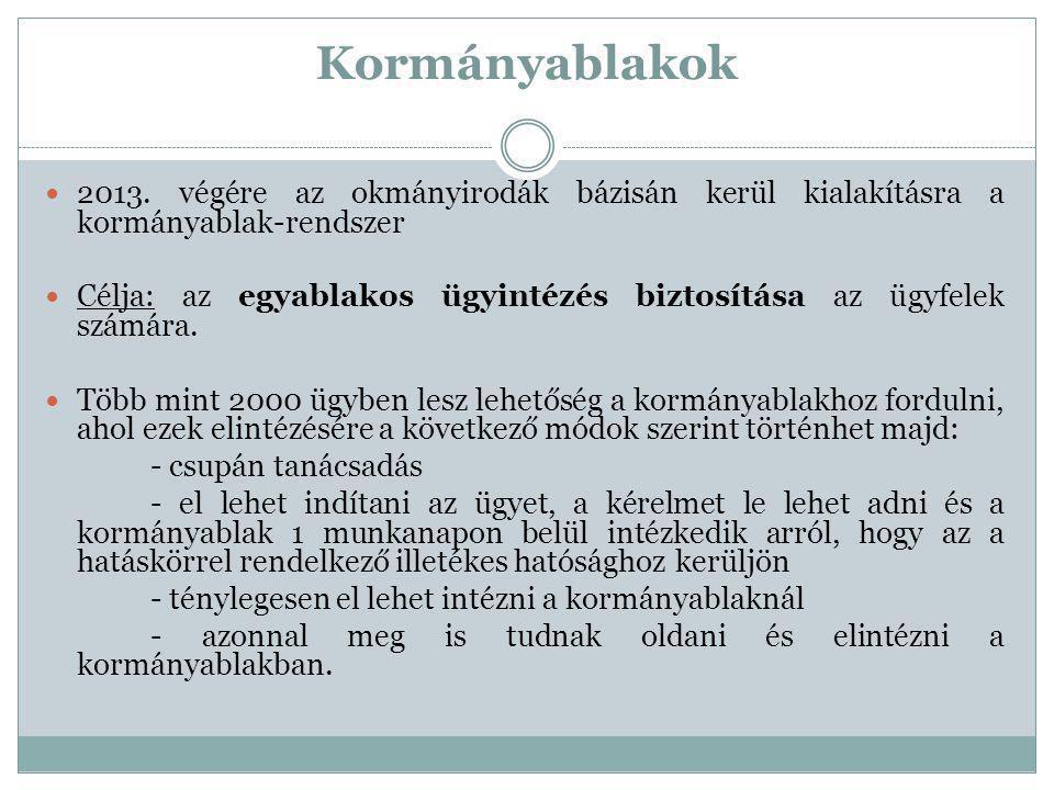 Kormányablakok 2013. végére az okmányirodák bázisán kerül kialakításra a kormányablak-rendszer Célja: az egyablakos ügyintézés biztosítása az ügyfelek