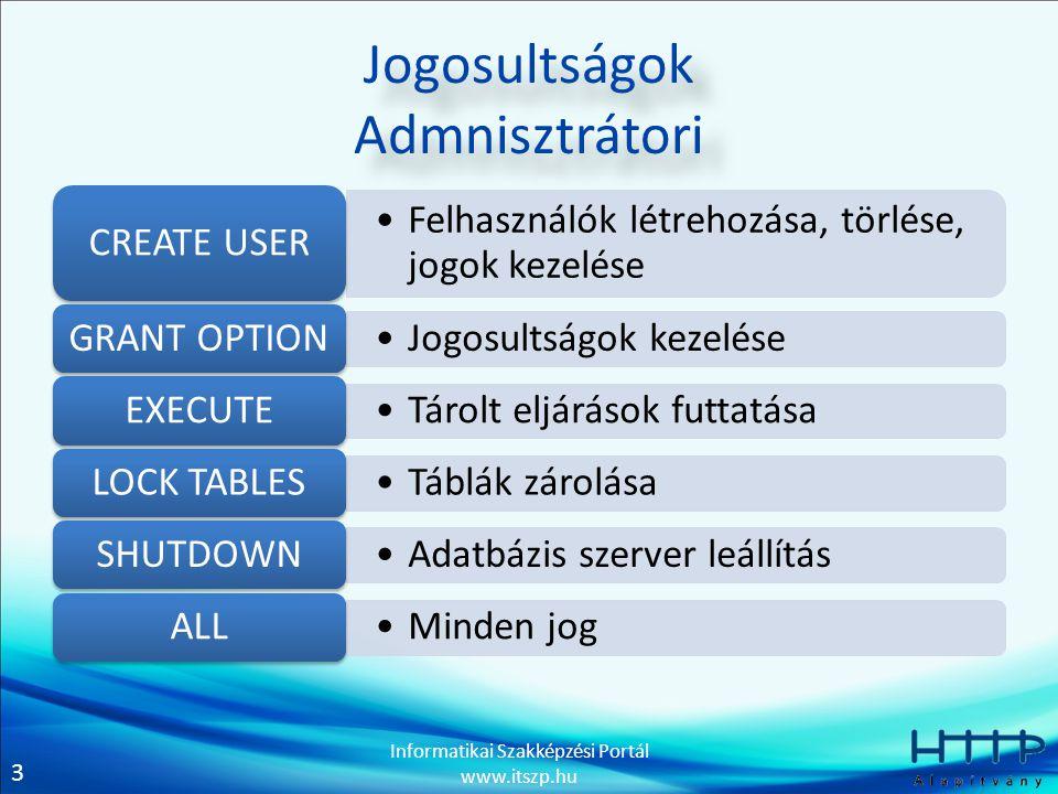 4 Informatikai Szakképzési Portál www.itszp.hu DCL (Data Control Languages) Adatvezérlő nyelv Jogosultságok hozzárendelése – GRANT Jogosultságok elvétele – REVOKE