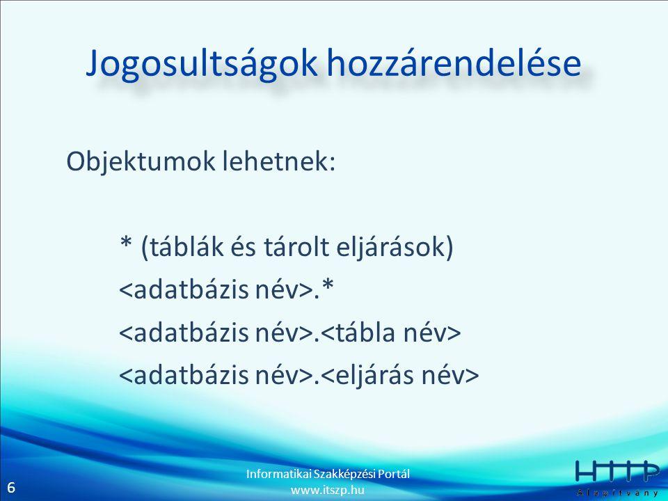 7 Informatikai Szakképzési Portál www.itszp.hu Jogosultságok hozzárendelése Felhasználók lehetnek: 'titkár'@localhost 'titkár'@'%.hu' 'titkár'@'192.168.1.%' 'titkár'@'%'