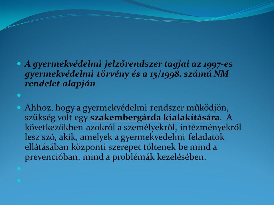 A gyermekvédelmi jelzőrendszer tagjai az 1997-es gyermekvédelmi törvény és a 15/1998.