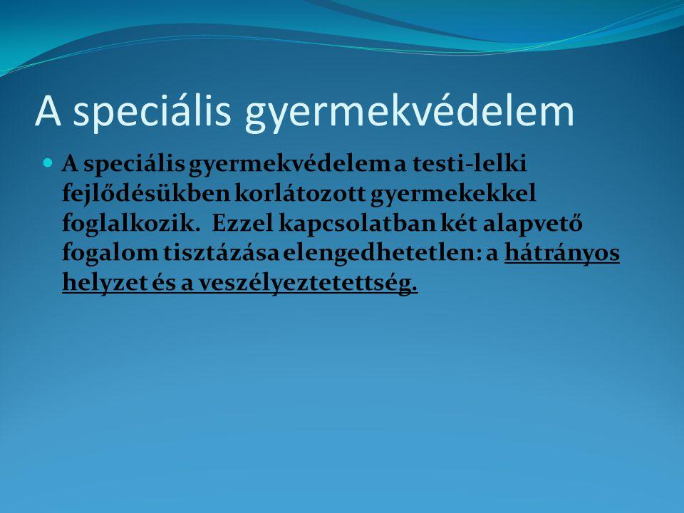 A speciális gyermekvédelem A speciális gyermekvédelem a testi-lelki fejlődésükben korlátozott gyermekekkel foglalkozik.