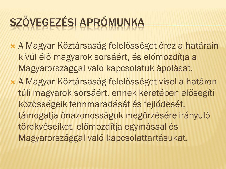  A Magyar Köztársaság felelősséget érez a határain kívül élő magyarok sorsáért, és előmozdítja a Magyarországgal való kapcsolatuk ápolását.  A Magya