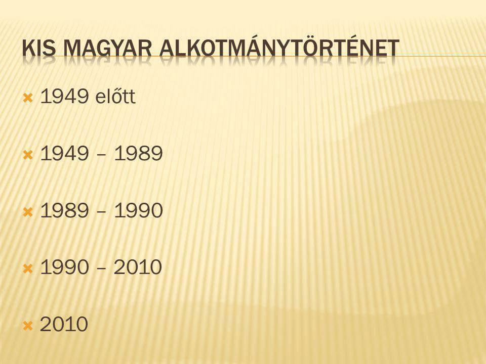  1949 előtt  1949 – 1989  1989 – 1990  1990 – 2010  2010