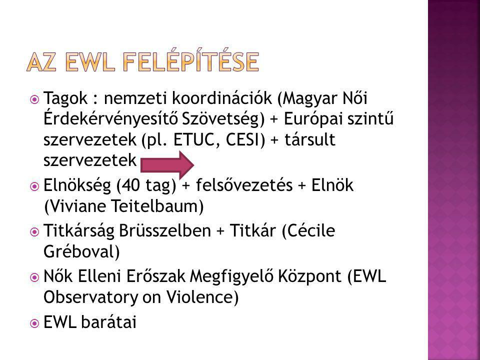  Tagok : nemzeti koordinációk (Magyar Női Érdekérvényesítő Szövetség) + Európai szintű szervezetek (pl. ETUC, CESI) + társult szervezetek  Elnökség