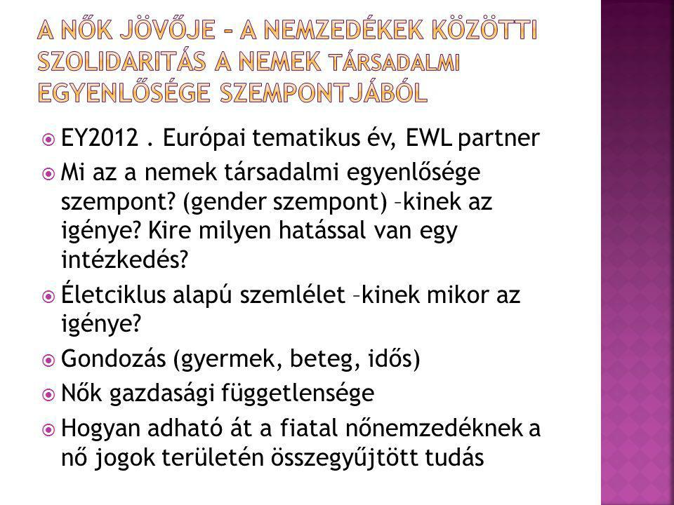  EY2012. Európai tematikus év, EWL partner  Mi az a nemek társadalmi egyenlősége szempont? (gender szempont) –kinek az igénye? Kire milyen hatással