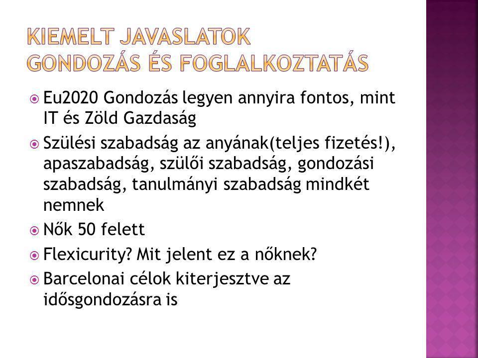 Eu2020 Gondozás legyen annyira fontos, mint IT és Zöld Gazdaság  Szülési szabadság az anyának(teljes fizetés!), apaszabadság, szülői szabadság, gondozási szabadság, tanulmányi szabadság mindkét nemnek  Nők 50 felett  Flexicurity.