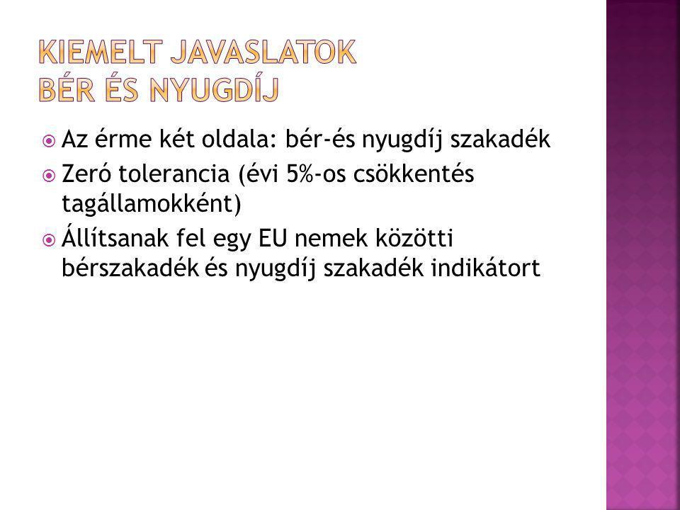  Az érme két oldala: bér-és nyugdíj szakadék  Zeró tolerancia (évi 5%-os csökkentés tagállamokként)  Állítsanak fel egy EU nemek közötti bérszakadék és nyugdíj szakadék indikátort