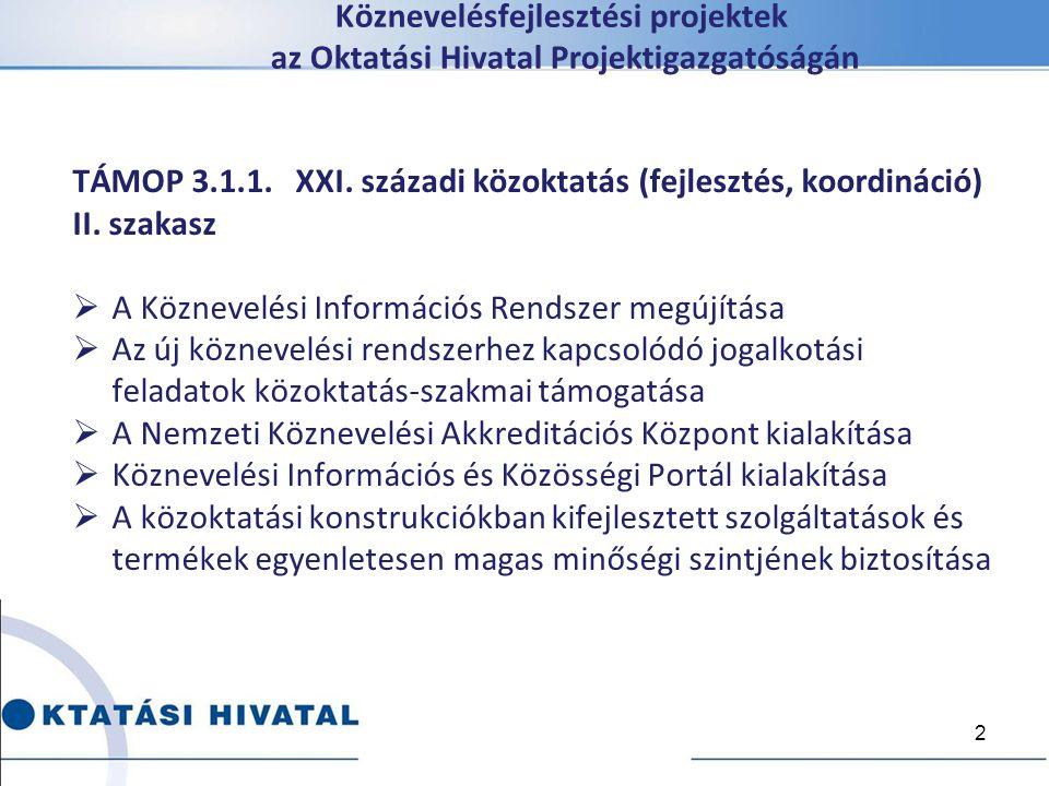 Köznevelésfejlesztési projektek az Oktatási Hivatal Projektigazgatóságán TÁMOP 3.1.1. XXI. századi közoktatás (fejlesztés, koordináció) II. szakasz 