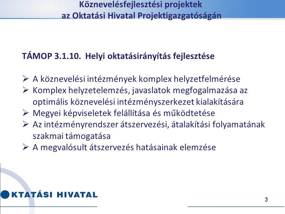 Köznevelésfejlesztési projektek az Oktatási Hivatal Projektigazgatóságán TÁMOP 3.1.10. Helyi oktatásirányítás fejlesztése  A köznevelési intézmények
