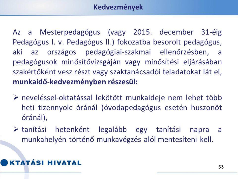 Kedvezmények Az a Mesterpedagógus (vagy 2015. december 31-éig Pedagógus I. v. Pedagógus II.) fokozatba besorolt pedagógus, aki az országos pedagógiai-