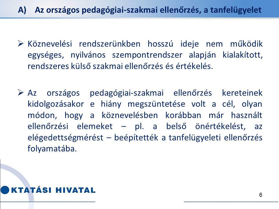 A) Az országos pedagógiai-szakmai ellenőrzés, a tanfelügyelet  Köznevelési rendszerünkben hosszú ideje nem működik egységes, nyilvános szempontrendsz
