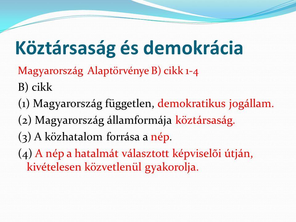 Köztársaság és demokrácia Magyarország Alaptörvénye B) cikk 1-4 B) cikk (1) Magyarország független, demokratikus jogállam. (2) Magyarország államformá