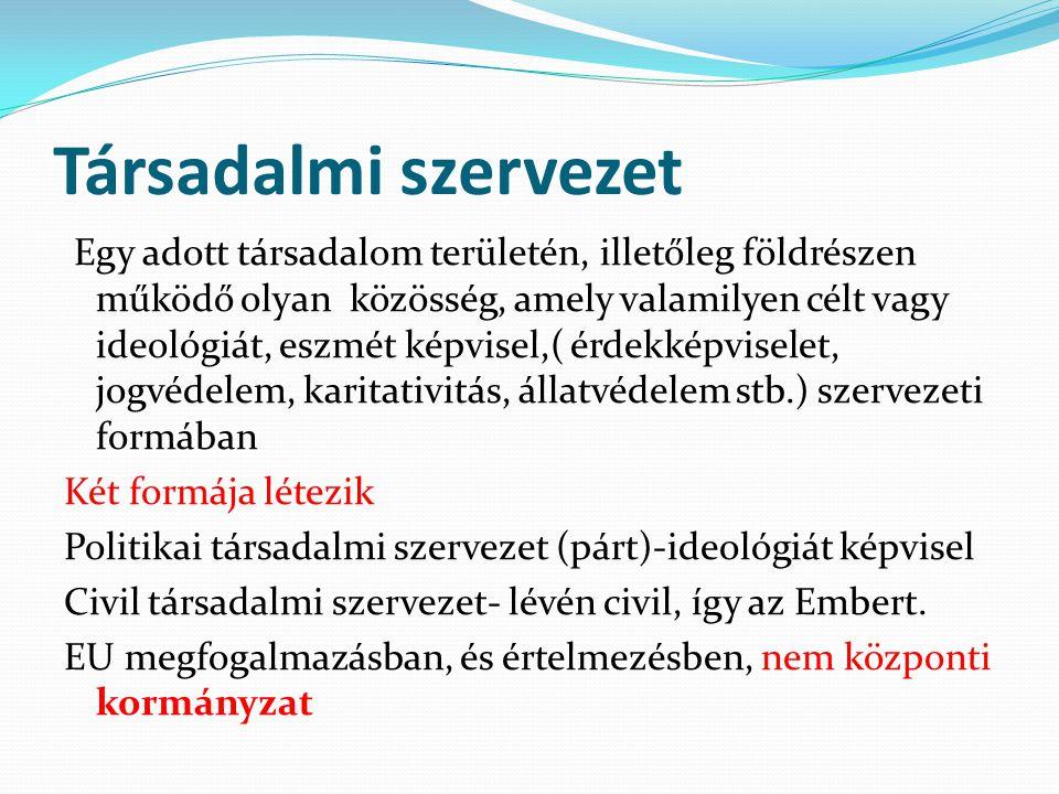 Társadalmi szervezet Egy adott társadalom területén, illetőleg földrészen működő olyan közösség, amely valamilyen célt vagy ideológiát, eszmét képvise