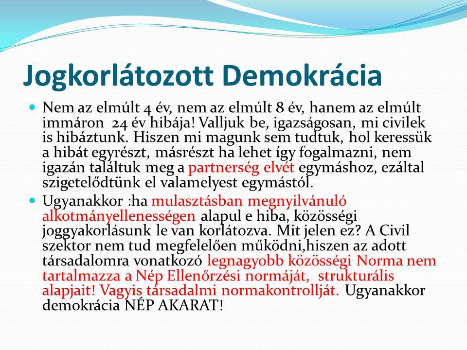 Jogkorlátozott Demokrácia Nem az elmúlt 4 év, nem az elmúlt 8 év, hanem az elmúlt immáron 24 év hibája! Valljuk be, igazságosan, mi civilek is hibáztu