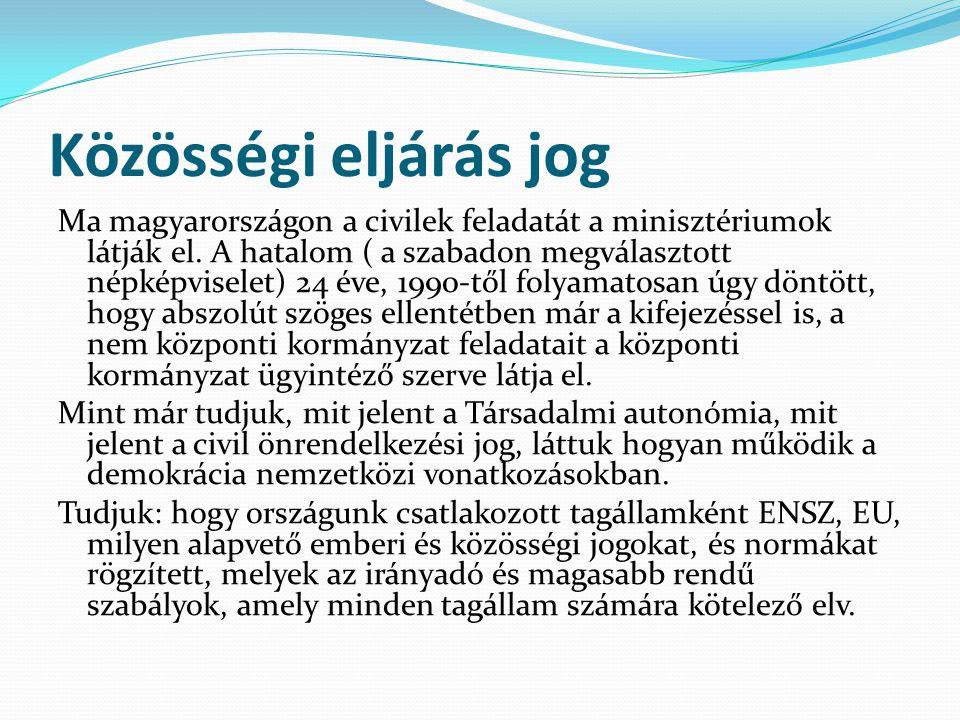 Közösségi eljárás jog Ma magyarországon a civilek feladatát a minisztériumok látják el. A hatalom ( a szabadon megválasztott népképviselet) 24 éve, 19