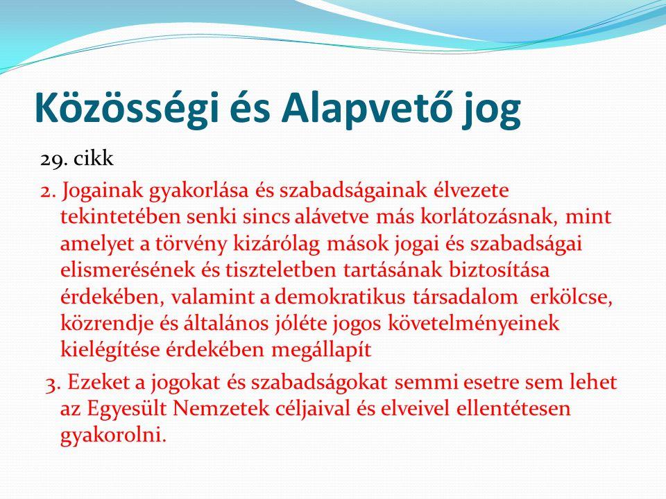 Közösségi és Alapvető jog 29. cikk 2. Jogainak gyakorlása és szabadságainak élvezete tekintetében senki sincs alávetve más korlátozásnak, mint amelyet