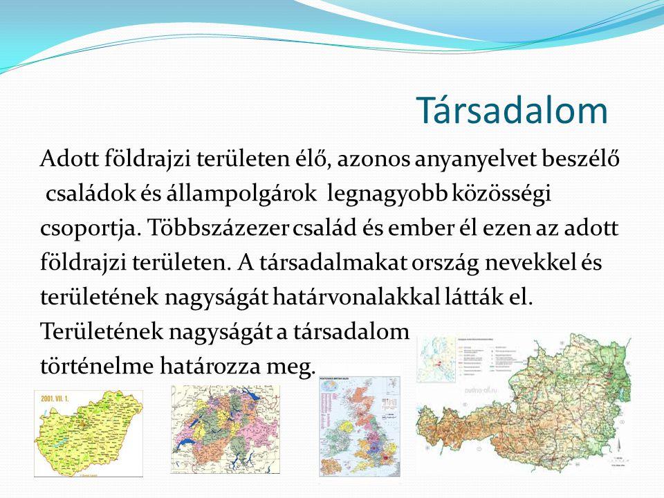 Társadalom Adott földrajzi területen élő, azonos anyanyelvet beszélő családok és állampolgárok legnagyobb közösségi csoportja. Többszázezer család és