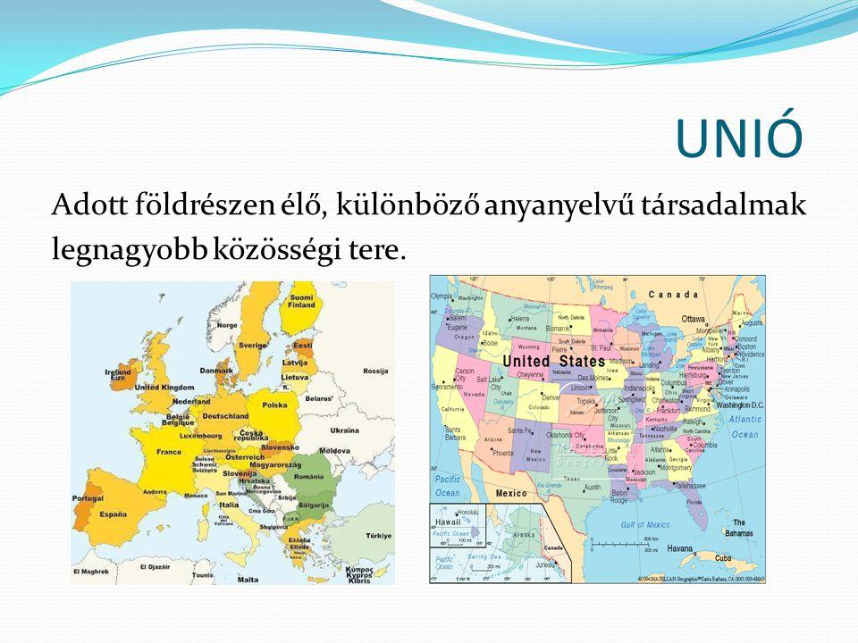 UNIÓ Adott földrészen élő, különböző anyanyelvű társadalmak legnagyobb közösségi tere.