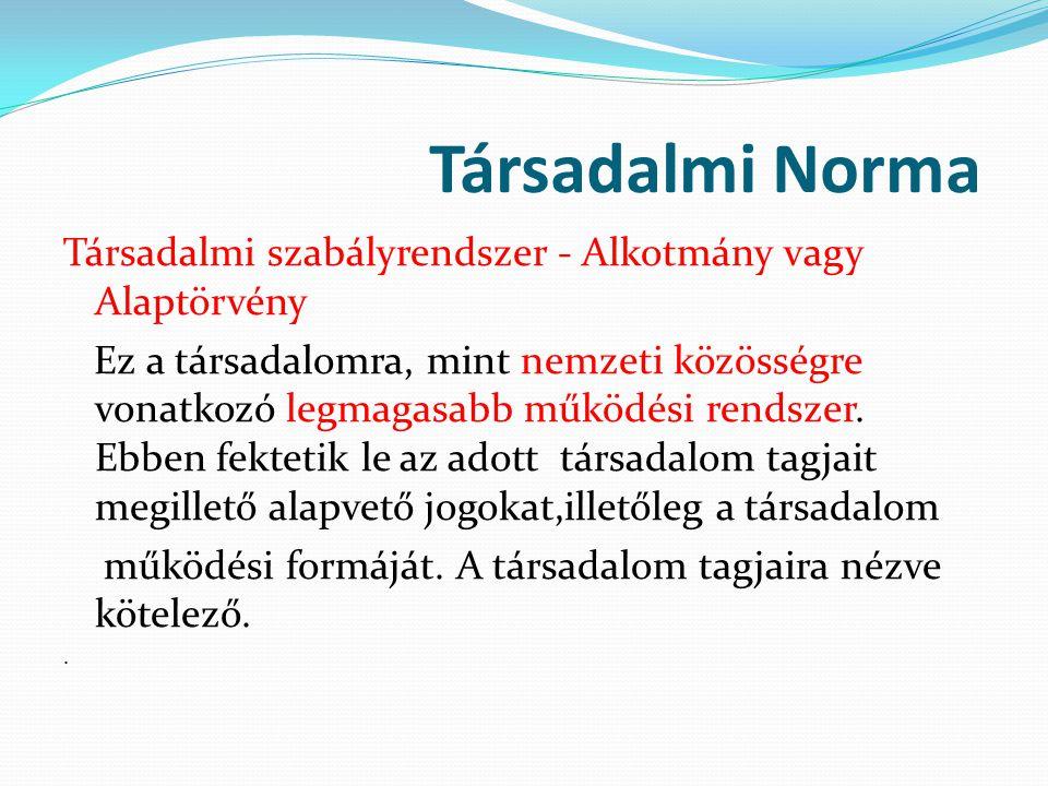 Társadalmi Norma Társadalmi szabályrendszer - Alkotmány vagy Alaptörvény Ez a társadalomra, mint nemzeti közösségre vonatkozó legmagasabb működési ren