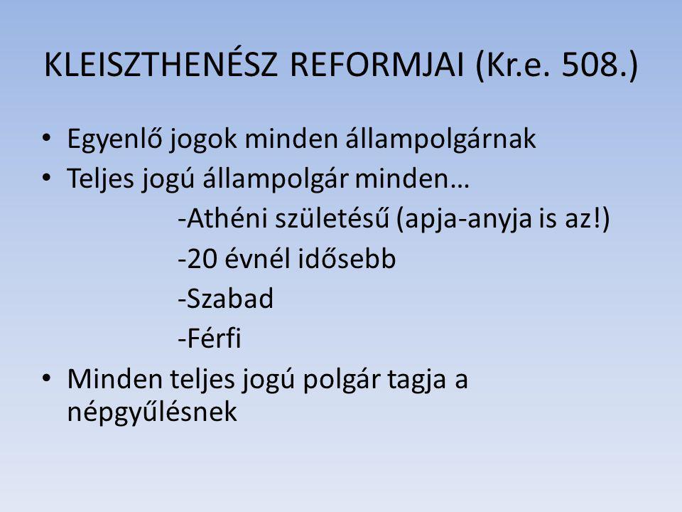 KLEISZTHENÉSZ REFORMJAI (Kr.e. 508.) Egyenlő jogok minden állampolgárnak Teljes jogú állampolgár minden… -Athéni születésű (apja-anyja is az!) -20 évn