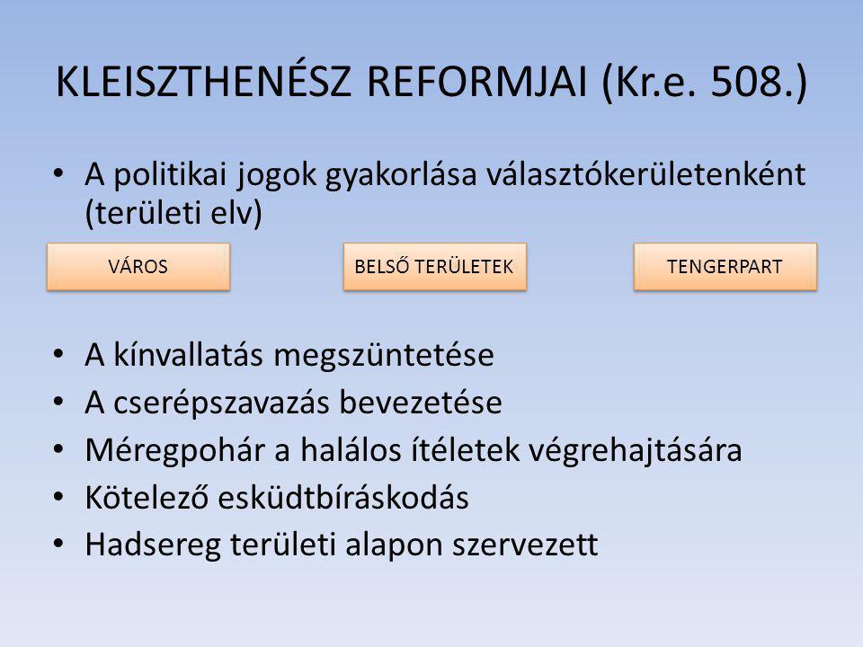 A politikai jogok gyakorlása választókerületenként (területi elv) A kínvallatás megszüntetése A cserépszavazás bevezetése Méregpohár a halálos ítéletek végrehajtására Kötelező esküdtbíráskodás Hadsereg területi alapon szervezett KLEISZTHENÉSZ REFORMJAI (Kr.e.