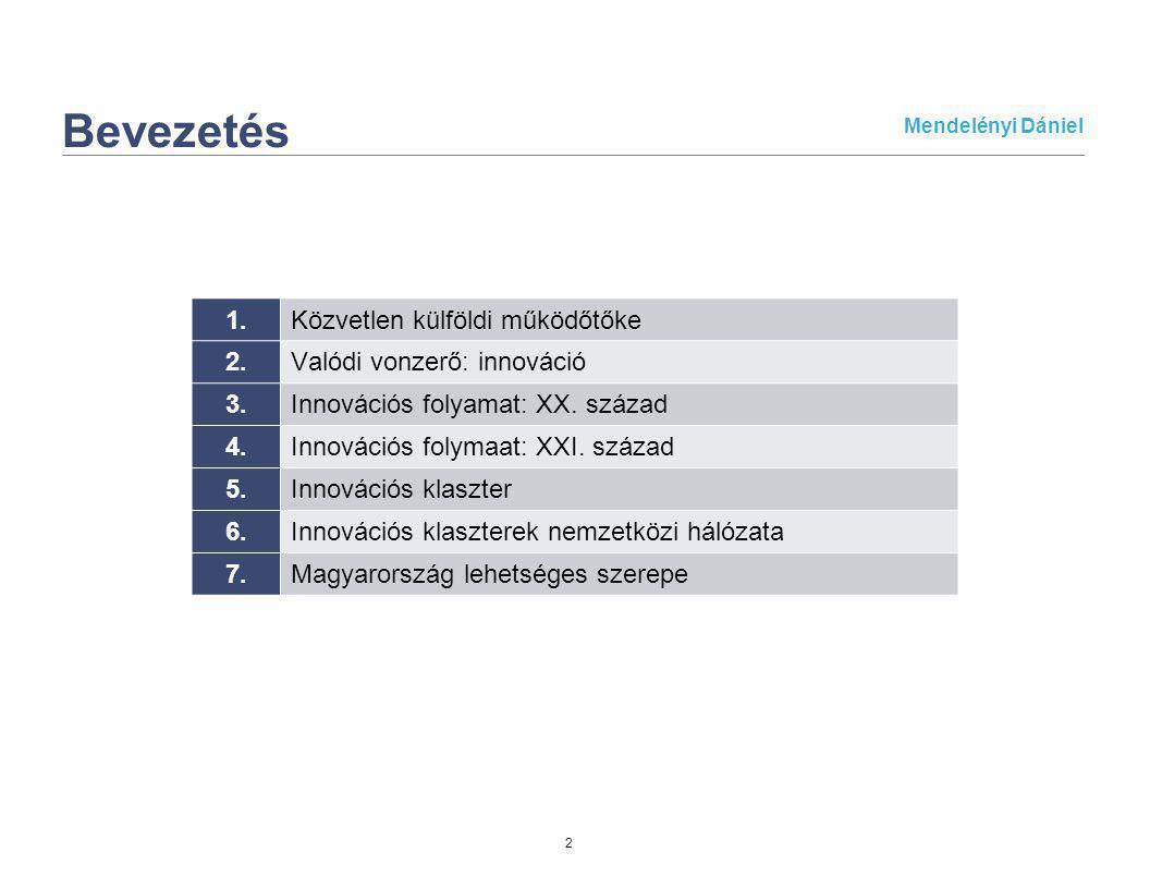 Mendelényi Dániel 3 1.Közvetlen külföldi működőtőke (FDI) Alapvető befolyásoló tényezők: Belépés és működtetés jogi és gazdasági feltételei Külföldi vállalatok kontra hazai vállalatok megítélése Kereskedelmi és privatizációs környezet Profit, illetve tőke mobilizálhatóság, kivitel Működési támogatás (adókedvezmény, munkahely bővítési támogatás, stb) Egyéb költségek (bérek, járulékok) Gazdasági növekedés Deviza átváltási árfolyam stabilitása Jegybank devizatartaléka Bankrendszer működése és stabilitása Kötvény- és részvény- piac likviditása és a piacokra vonatkozó jogiszabályozás Kamatszint Adókörnyezet (pl.: nyereségadó szintje) Könyvelési és beszámolási rendszerek minősége Vitarendezési eljárások átláthatósága és gyorsasága Befektetői jogok védelme
