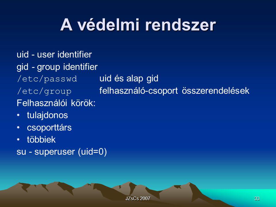 JZsCs 200733 A védelmi rendszer uid - user identifier gid - group identifier /etc/passwd uid és alap gid /etc/group felhasználó-csoport összerendelések Felhasználói körök: tulajdonos csoporttárs többiek su - superuser (uid=0)