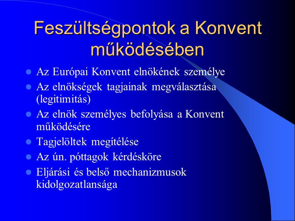 Feszültségpontok a Konvent működésében Az Európai Konvent elnökének személye Az elnökségek tagjainak megválasztása (legitimitás) Az elnök személyes be