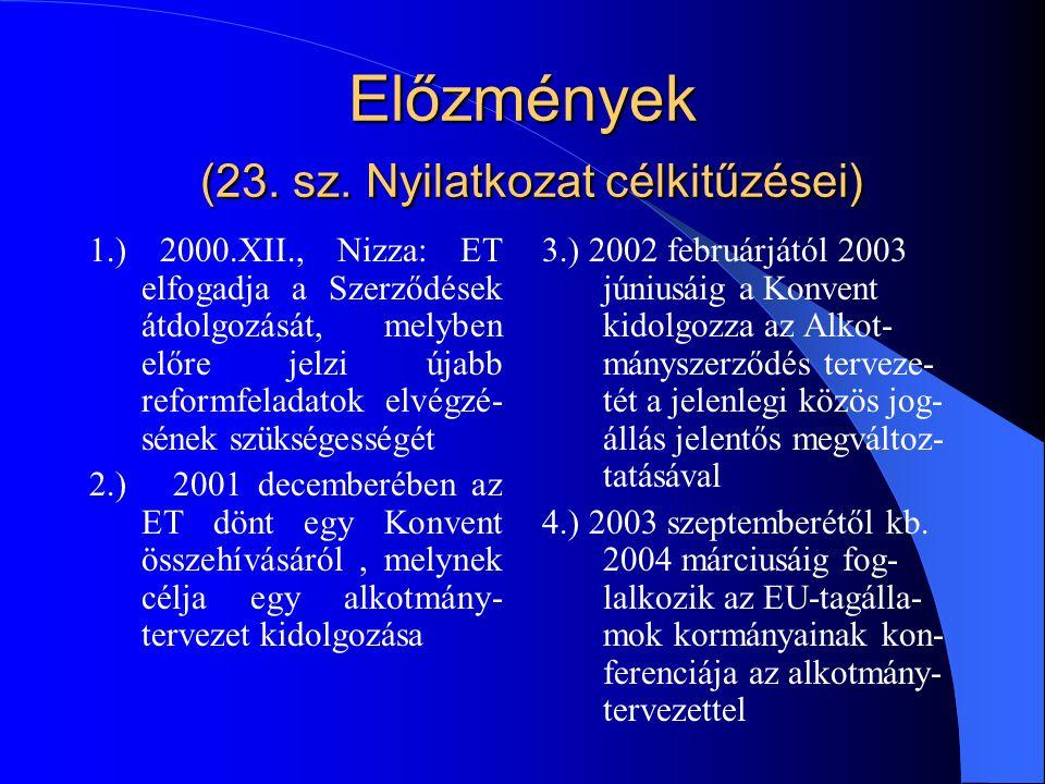 Előzmények (23. sz. Nyilatkozat célkitűzései) 1.) 2000.XII., Nizza: ET elfogadja a Szerződések átdolgozását, melyben előre jelzi újabb reformfeladatok
