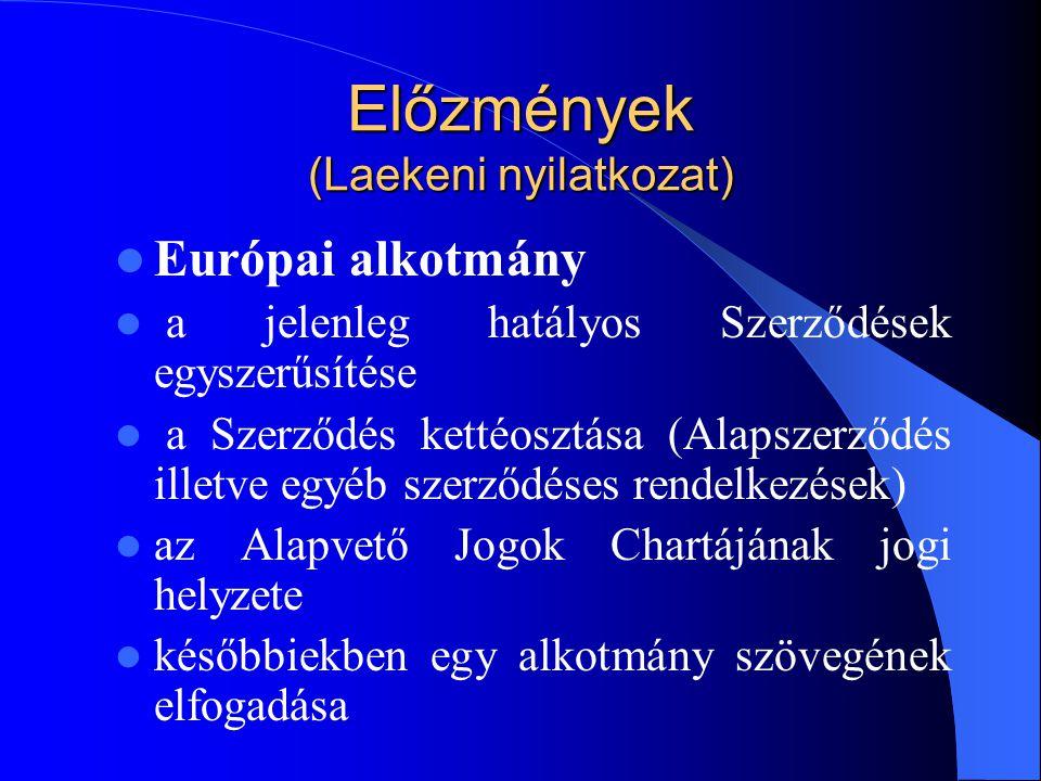 Előzmények (Laekeni nyilatkozat) Európai alkotmány a jelenleg hatályos Szerződések egyszerűsítése a Szerződés kettéosztása (Alapszerződés illetve egyé