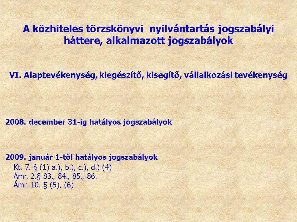 VI. Alaptevékenység, kiegészítő, kisegítő, vállalkozási tevékenység 2008. december 31-ig hatályos jogszabályok 2009. január 1-től hatályos jogszabályo