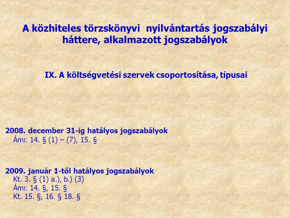 IX. A költségvetési szervek csoportosítása, típusai 2008. december 31-ig hatályos jogszabályok 2009. január 1-től hatályos jogszabályok Kt. 3. § (1) a