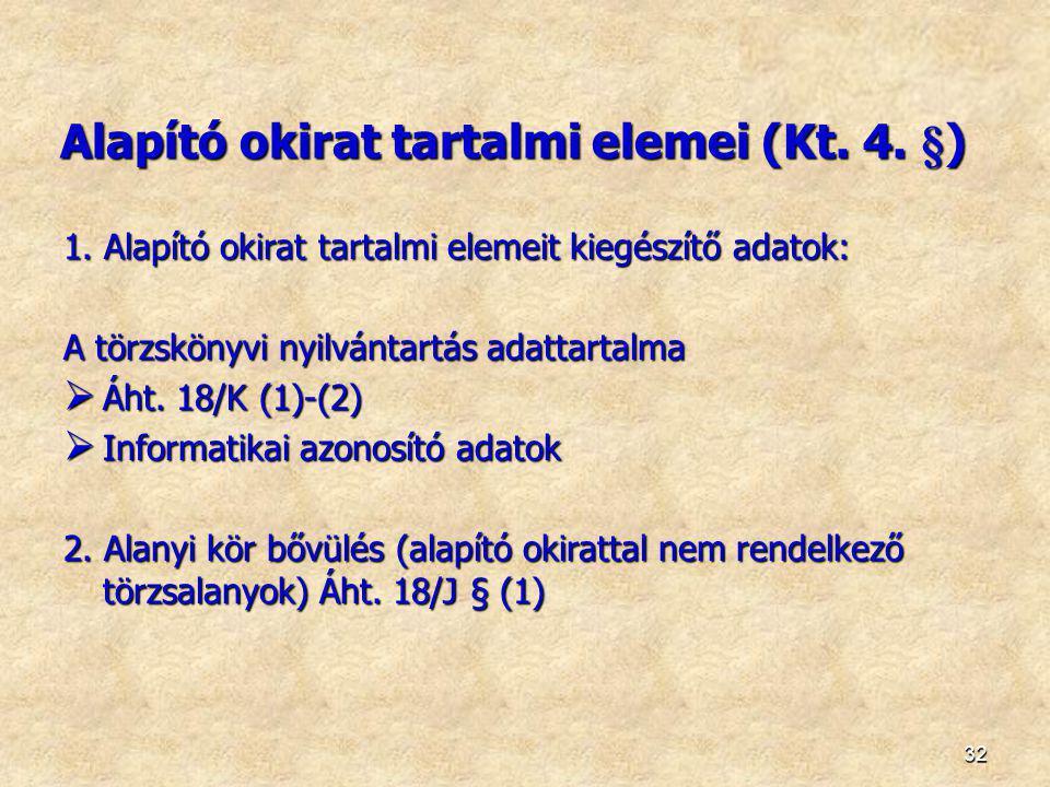 1. Alapító okirat tartalmi elemeit kiegészítő adatok: A törzskönyvi nyilvántartás adattartalma  Áht. 18/K (1)-(2)  Informatikai azonosító adatok 2.